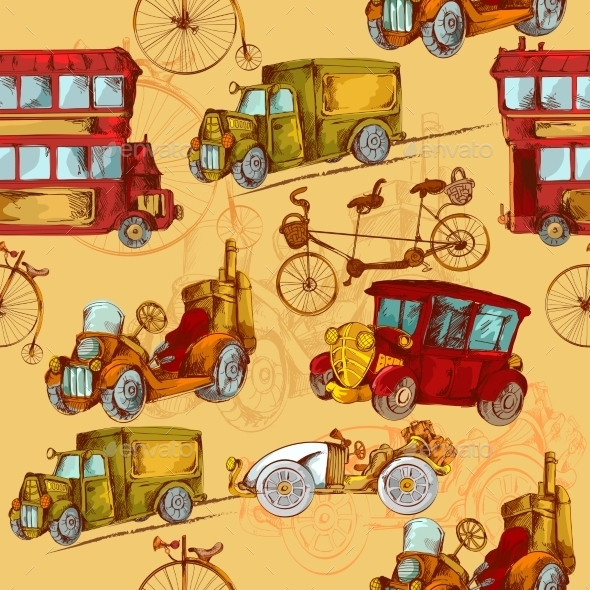 GraphicRiver Vintage Transport Seamless 10904696