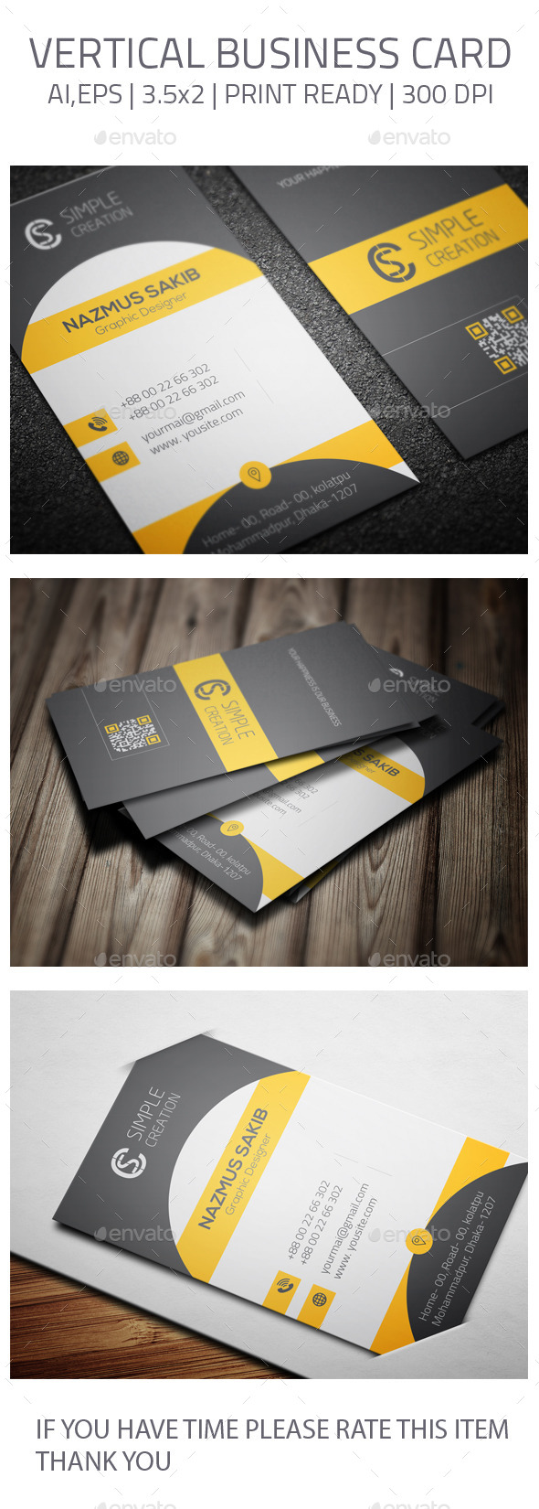 GraphicRiver Vertical Business Card 07 10904748