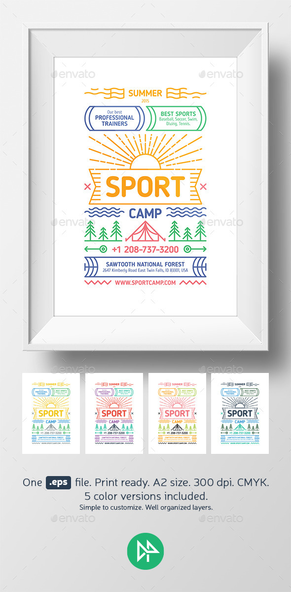 GraphicRiver Sport camp poster template 10810608