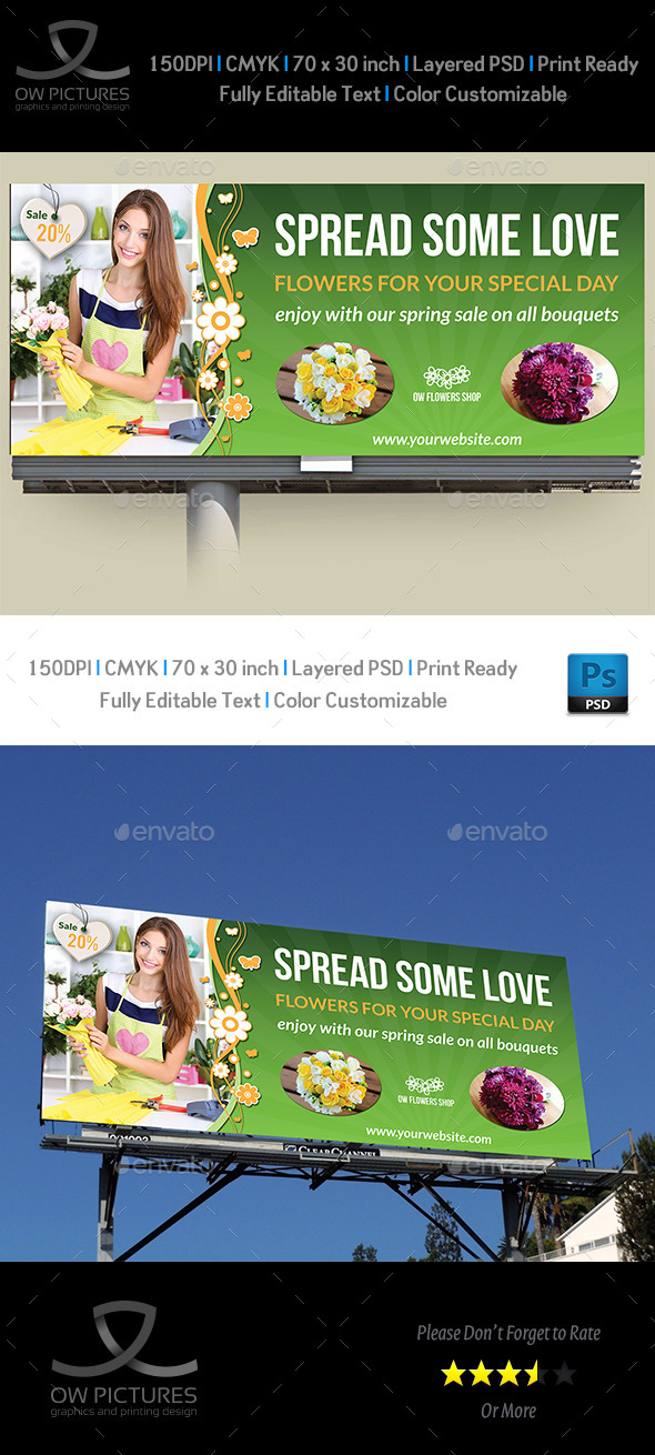 GraphicRiver Flower Shop Billboard Template 10904807