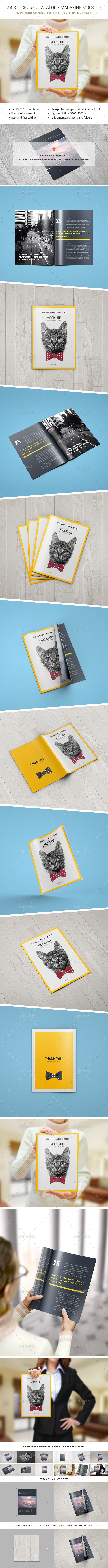 GraphicRiver A4 Brochure Catalogue Magazine Mockup 10905520