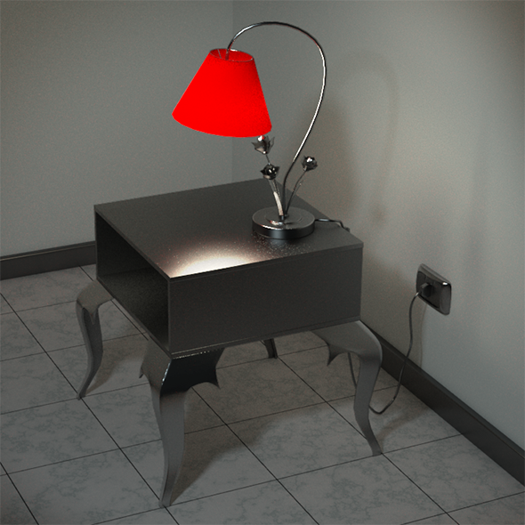 3DOcean Night Stand and Lamp 10905949