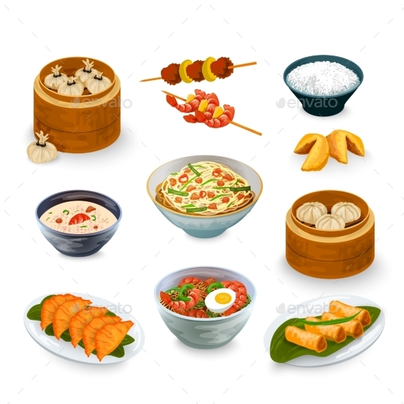 GraphicRiver Asian Food Set 10906030