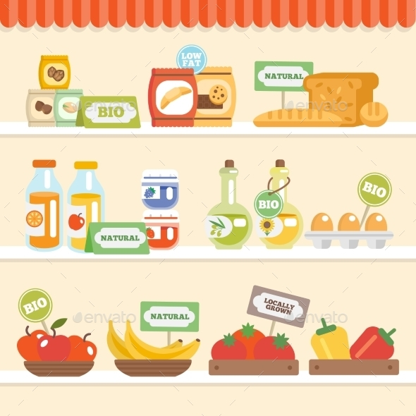 GraphicRiver Food Collection On Shelf 10906060