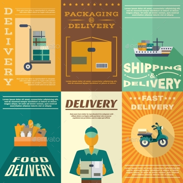 GraphicRiver Delivery Poster Set 10906225