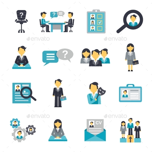 GraphicRiver Human Resources Icons Flat 10906227