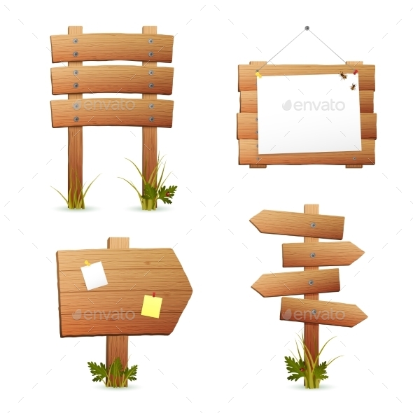 GraphicRiver Wooden Signs Set 10906242