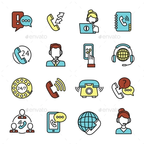 GraphicRiver Call Center Icons Set 10906291