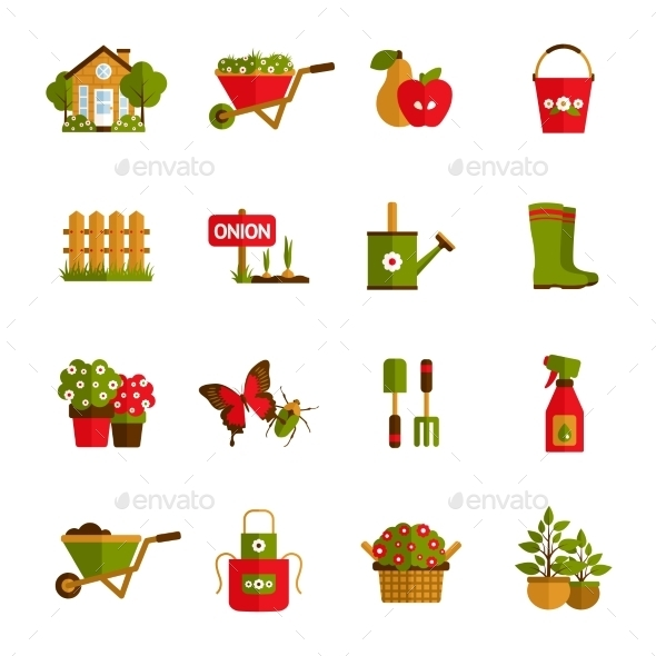 GraphicRiver Gardening Icons Set 10906302