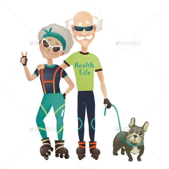 GraphicRiver Couple Walking Dog 10906651