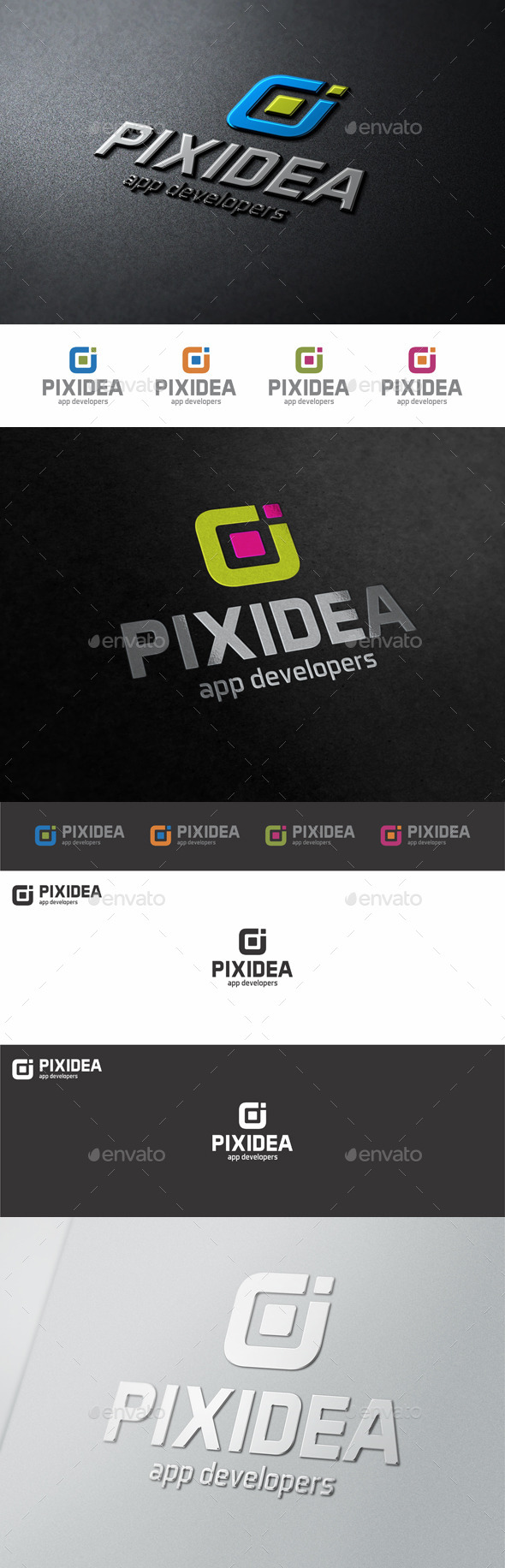 GraphicRiver Pixel Idea Square Web Logo 10906661