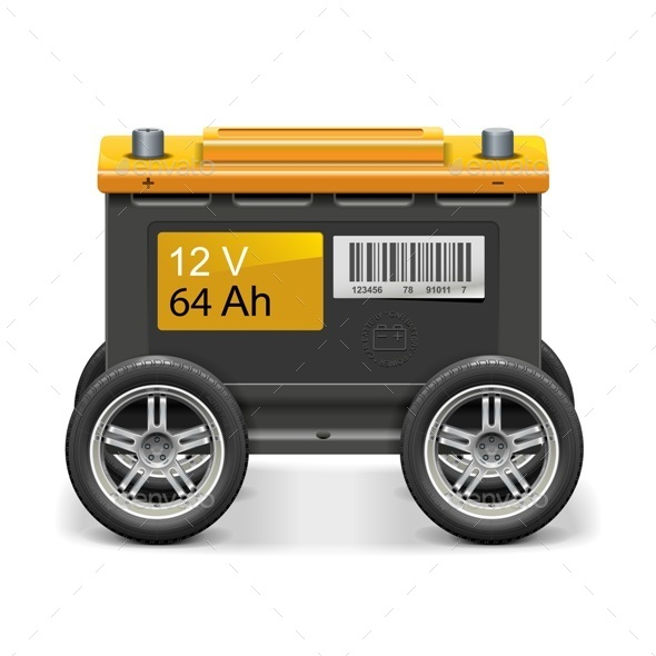GraphicRiver Vector Car Battery on Wheels 10906696