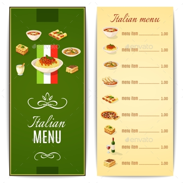 GraphicRiver Italian Food Menu 10906761