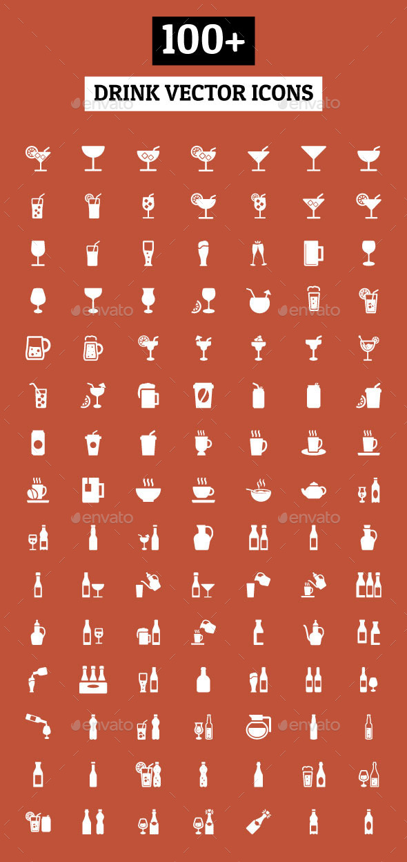 GraphicRiver 100& Drink Vector Icons 10907020