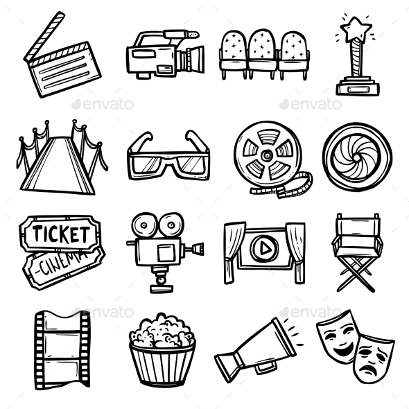 GraphicRiver Cinema Icons Set 10907036