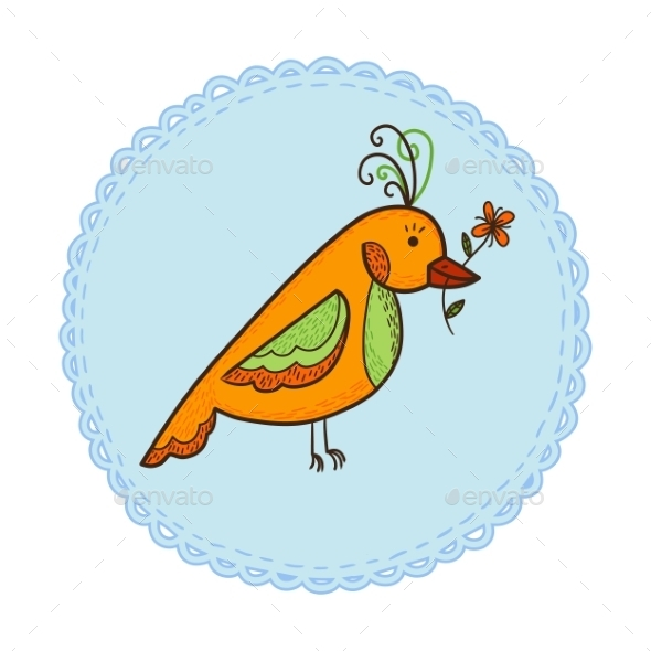 GraphicRiver Bird with Flower 10907093