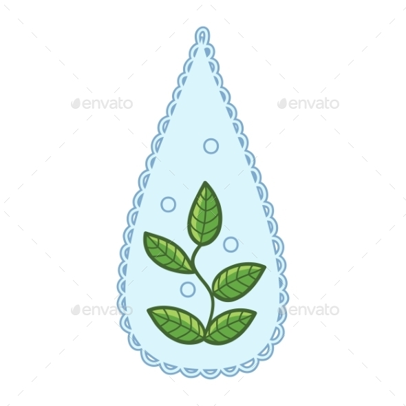 GraphicRiver Water Drop with Leaf 10907096
