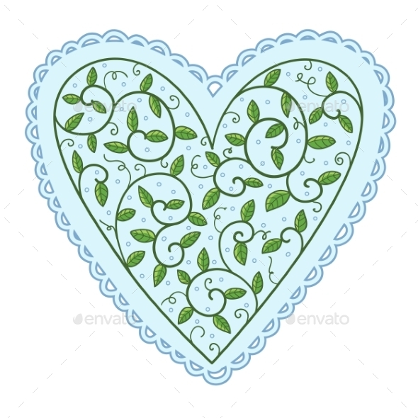 GraphicRiver Heart with Leaves 10907098