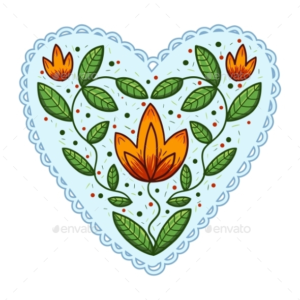 GraphicRiver Heart with Leaves 10907101