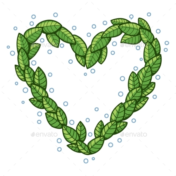 GraphicRiver Heart with Leaves 10907111