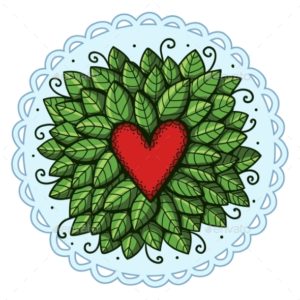 GraphicRiver Heart with Leaves 10907114
