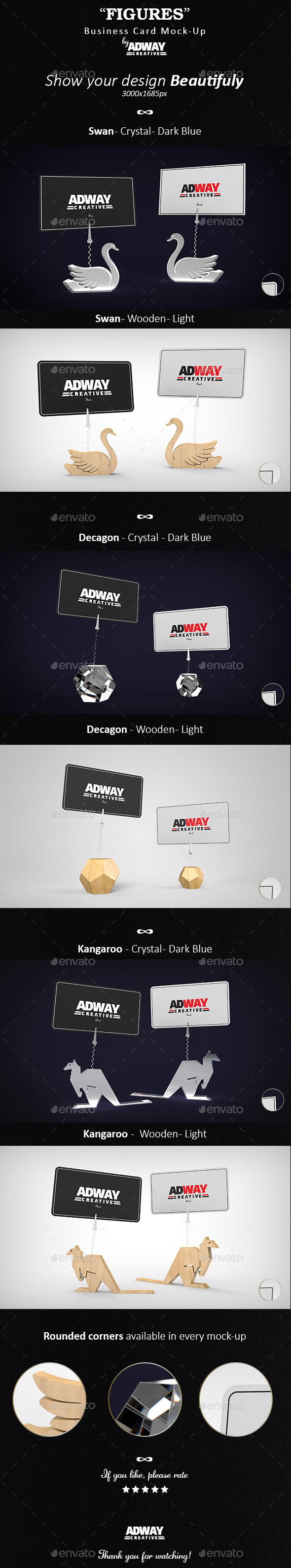 GraphicRiver Crystal and Wooded Figures Business Card Mockup 10833770