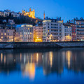 Lyon with Saone river by night - PhotoDune Item for Sale