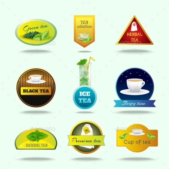 GraphicRiver Tea Labels Set 10908231
