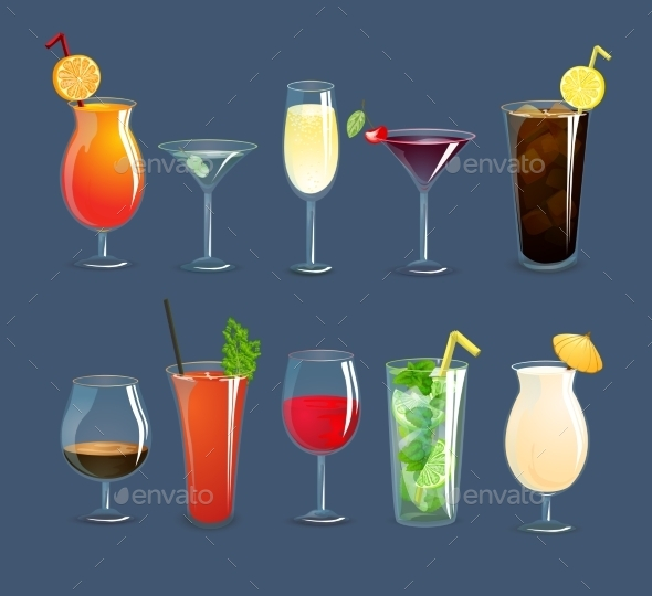GraphicRiver Drinks Glasses Set 10908234