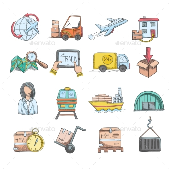 GraphicRiver Logistics Sketch Icons Set 10908242