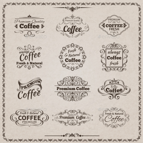 GraphicRiver Coffee Emblem Set 10908249