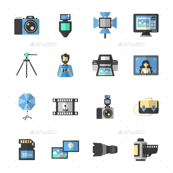 GraphicRiver Photography Icons Flat 10908261