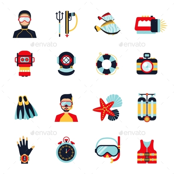 GraphicRiver Diving Icons Set 10908370