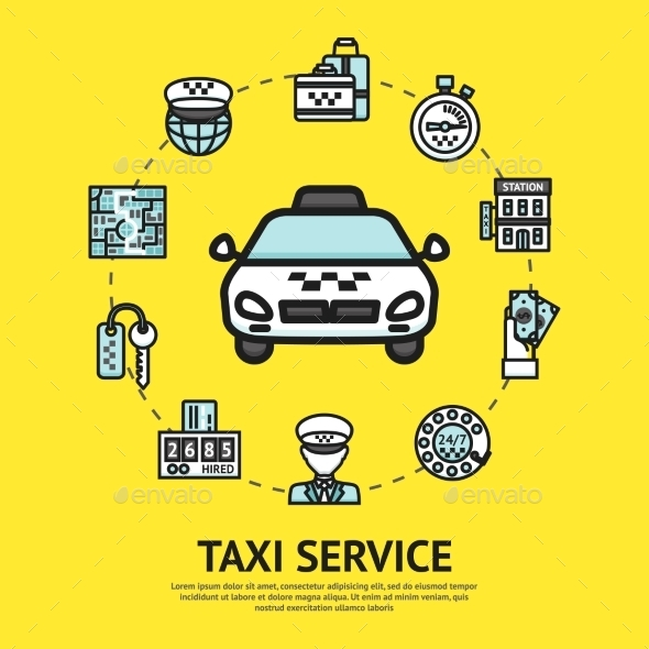 GraphicRiver Taxi Service Illustration 10908399