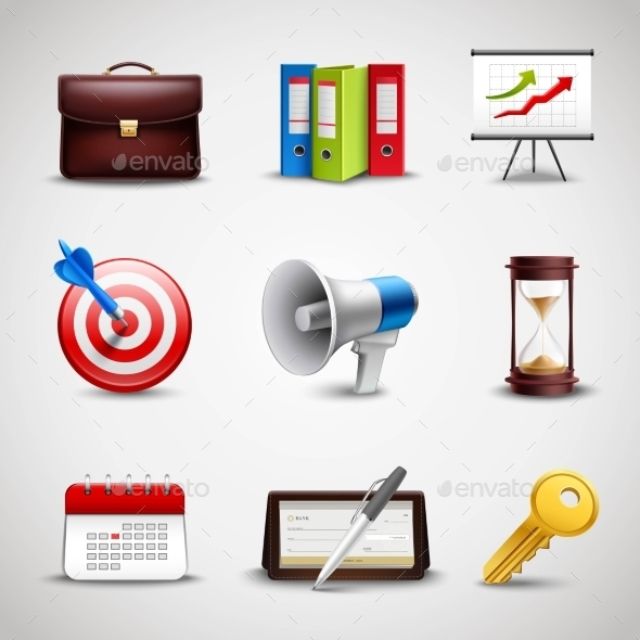 GraphicRiver Realistic Business Icons 10908578