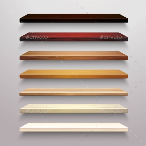 GraphicRiver Wooden Shelves Set 10908596