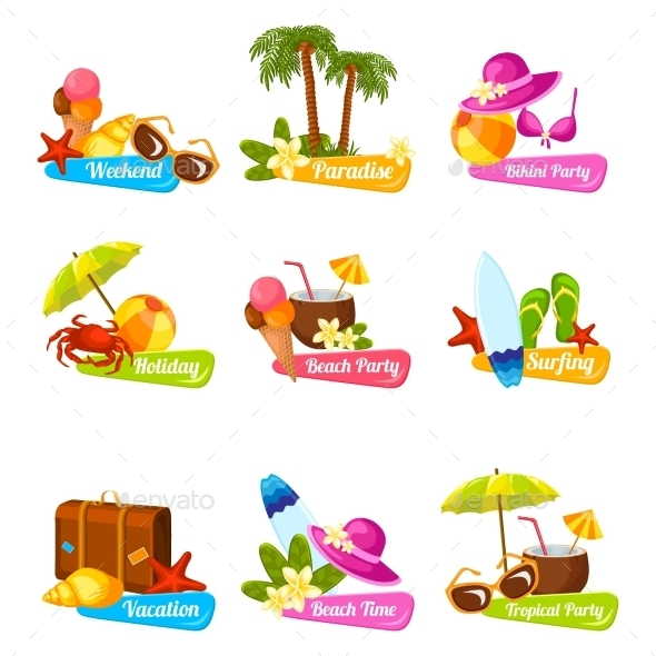 GraphicRiver Beach Emblem Set 10908755