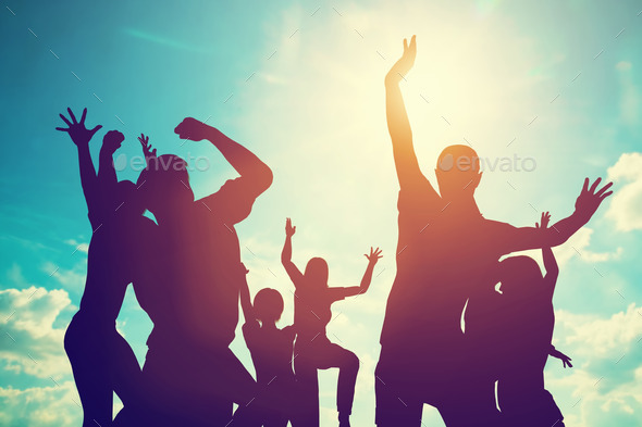 Happy friends, family jumping together having fun. Freedom, success