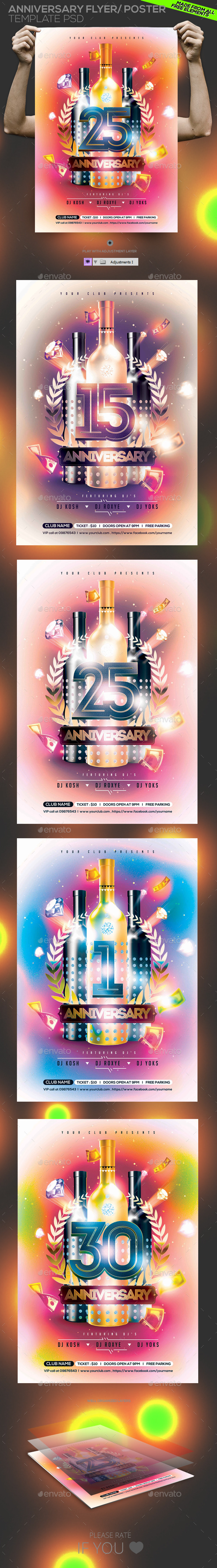 GraphicRiver Anniversary Birthday Party Flyer 10908794
