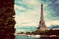 Eiffel Tower and Seine River, Paris, France. Vintage - PhotoDune Item for Sale