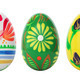 Hand painted Easter eggs isolated on white. Spring patterns art. - PhotoDune Item for Sale