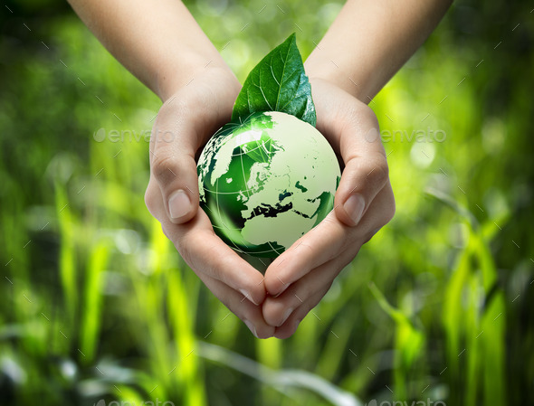 Green world in the heart hand - grass background