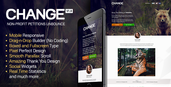 ThemeForest Change Petitions Responsive Unbounce Template 10909652