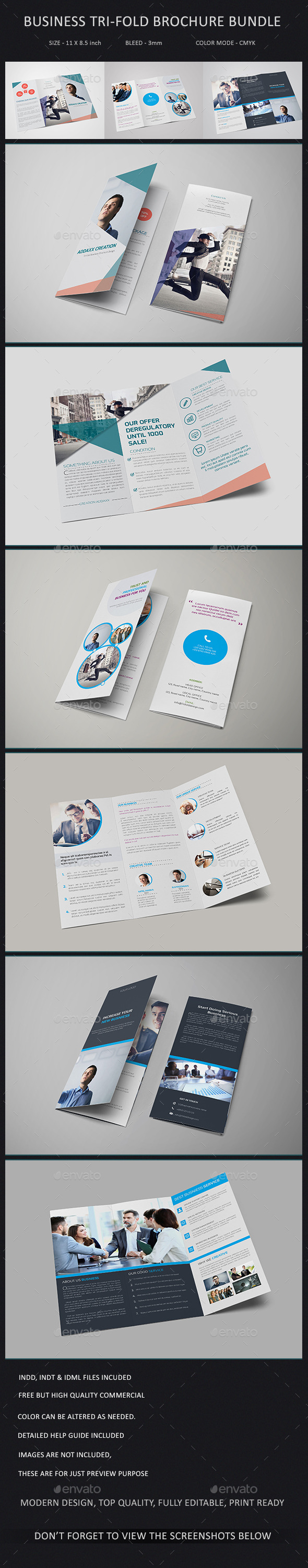 GraphicRiver Business Tri-fold Brochure Bundle 10909698