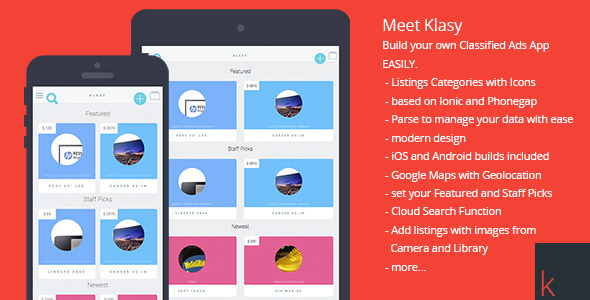 CodeCanyon Klasy Classified Ads Mobile App 10909969