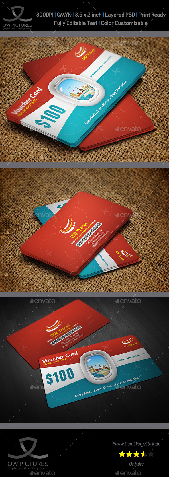 GraphicRiver Travel Gift Voucher Card Template Vol.17 10910265