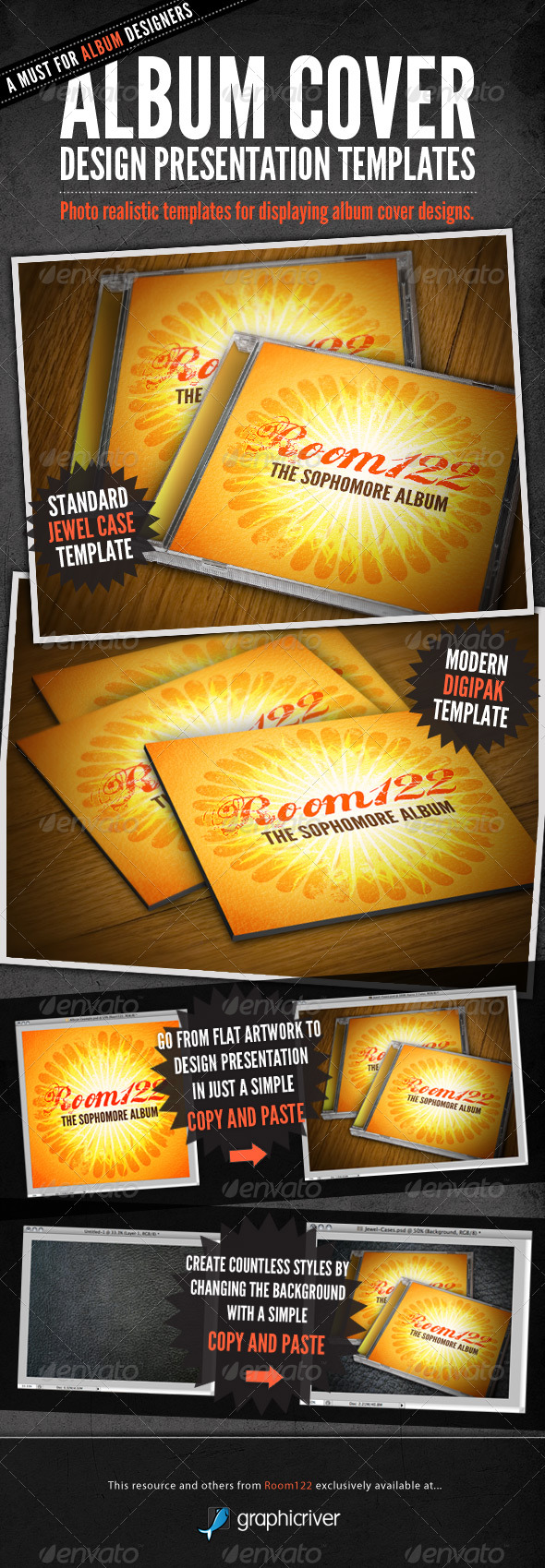 GraphicRiver Album Cover CD Mock-Ups 135538