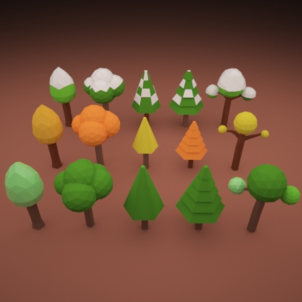 3DOcean Low Poly Tree Pack 02 10910424