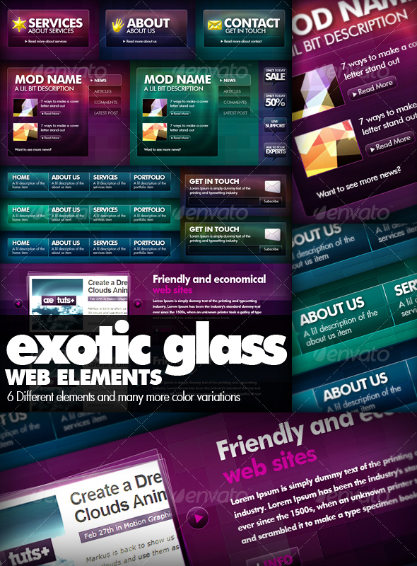 GraphicRiver Exotic Glass Web Elements 44886