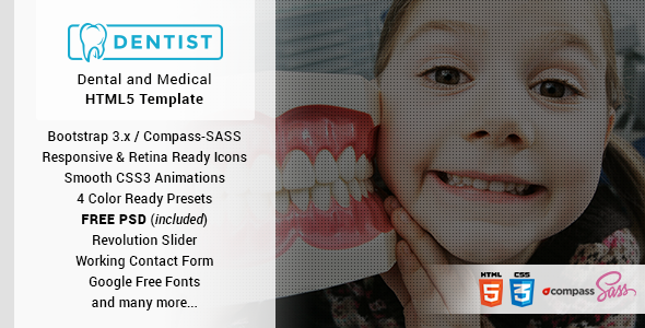 ThemeForest Dentist Dental & Medical One Page HTML Template 10861303
